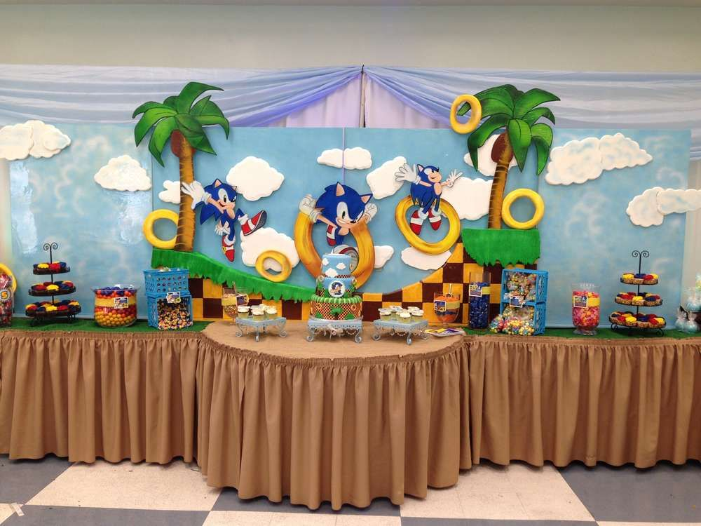 Sonic The Hedgehog Birthday Party Ideas Photo 1 Of 24 Catch My Party Sonic Birthday Parties Hedgehog Birthday Sonic Party