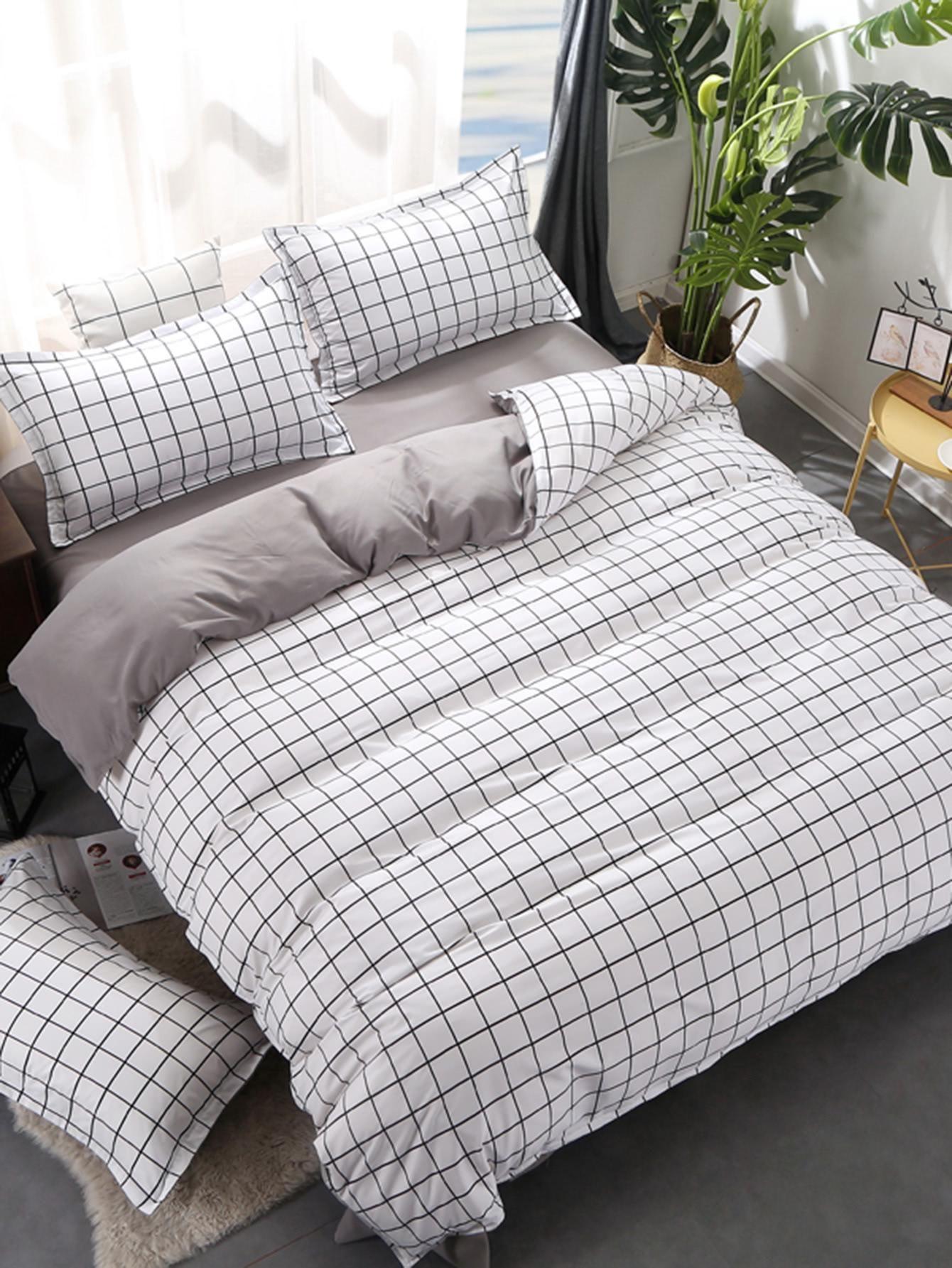 Valentines Adorewe Romwe Romwe 2 0m 4pcs Grid Duvet Cover Set Adorewe Com Bed Linens Luxury Room Ideas Bedroom Aesthetic Bedroom