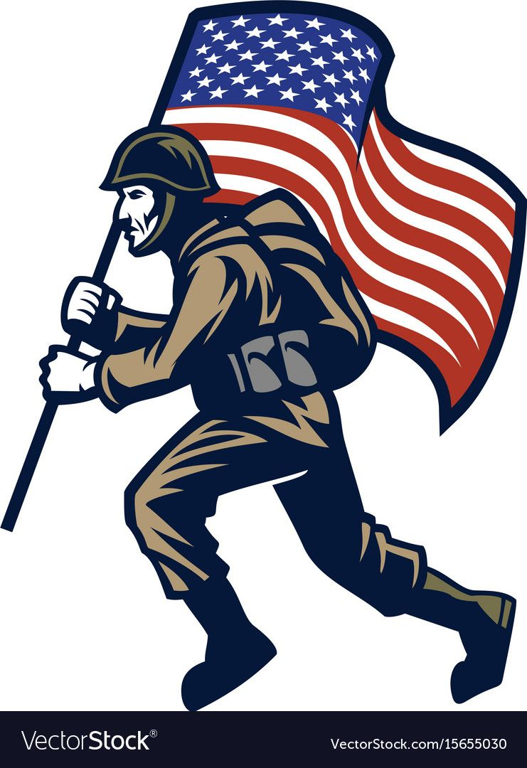 Military Soldier Carrying The United States Flag Vector Image United States Flag Flag Vector Military Soldiers