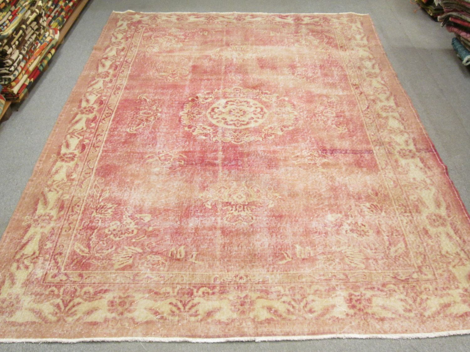 Vintage Turkish Oushak Wool Handmade Pale Pink Rug From
