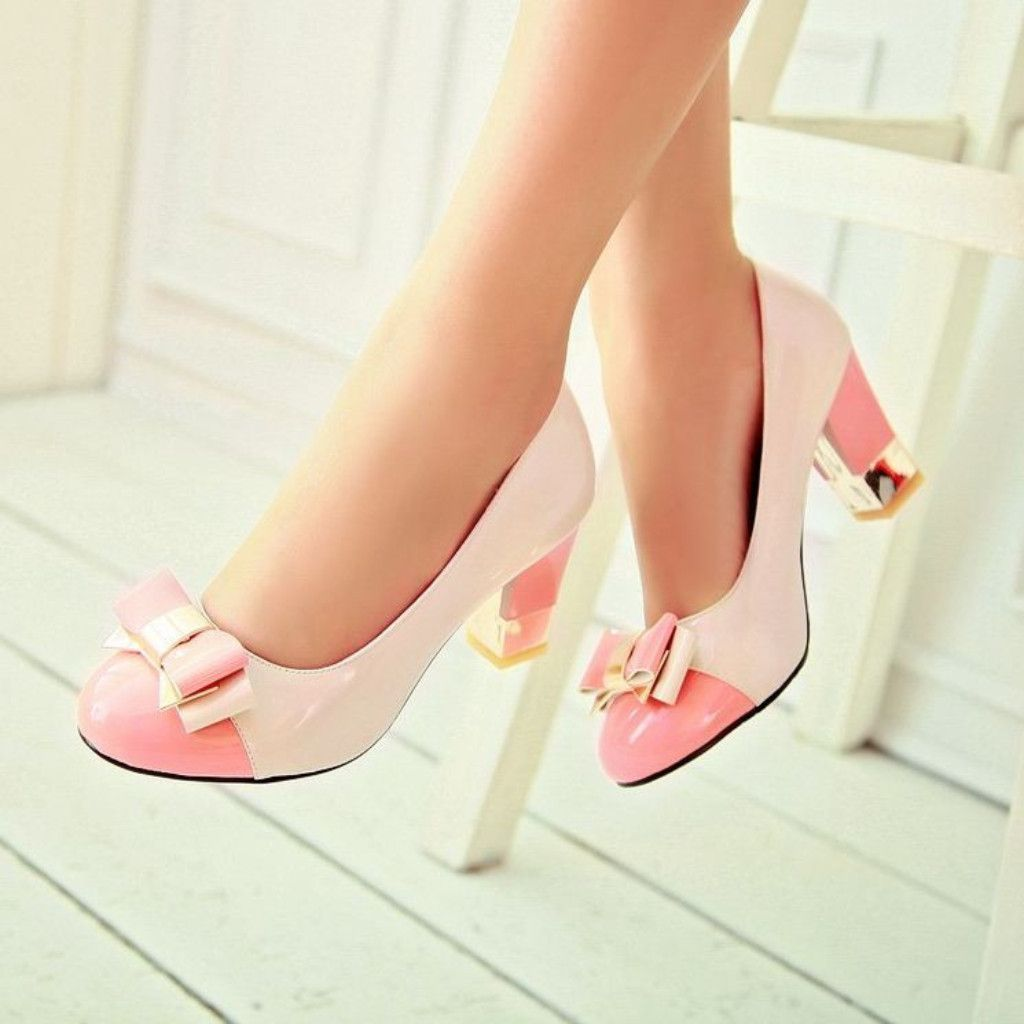 New Women Metal Decor Bowknot Round Toe Pull On PU Leather Block High Heel Shoes