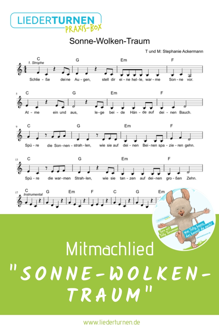 Noten für das Kinderlied Sonne-Wolken-Traum! Ein