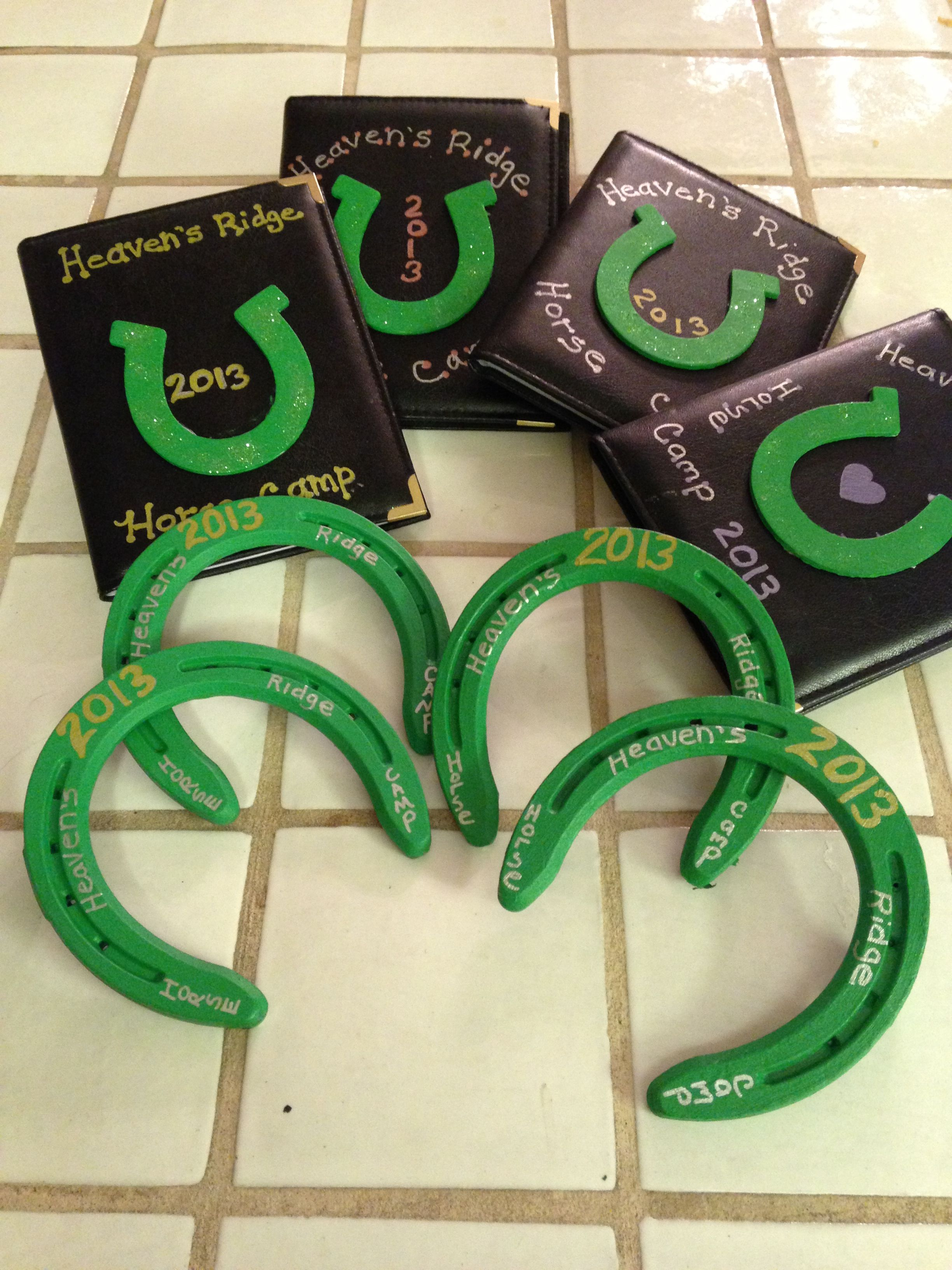 Give the kids primed horseshoes, and let them paint a design on them ...