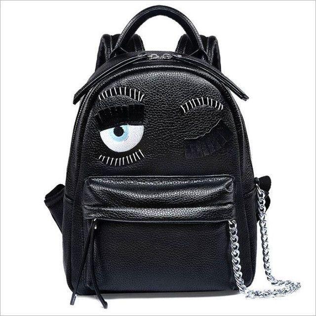 cartoon demon eyes backpack famous brand monster women leather backpacks  metal chain school bag for teenagers travel backpack c3d727888fbdd