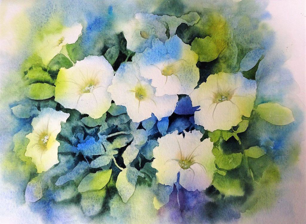 Aquarel Petunias40x50 Aquarelle Acrylique Comment Peindre