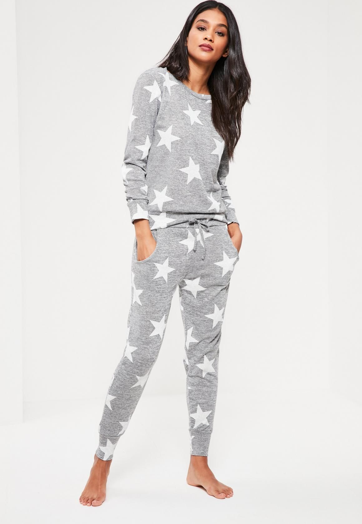 efaeb2cee5 Missguided - Grey Star Print Lounge Tracksuit