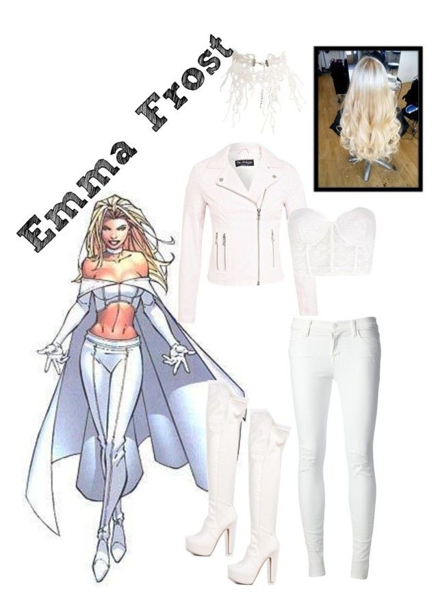 """Emma Frost: Marvel"" by rachel-hubby ❤ liked on Polyvore featuring Miss Selfridge, Forever 21, J Brand, Qupid and ASOS"