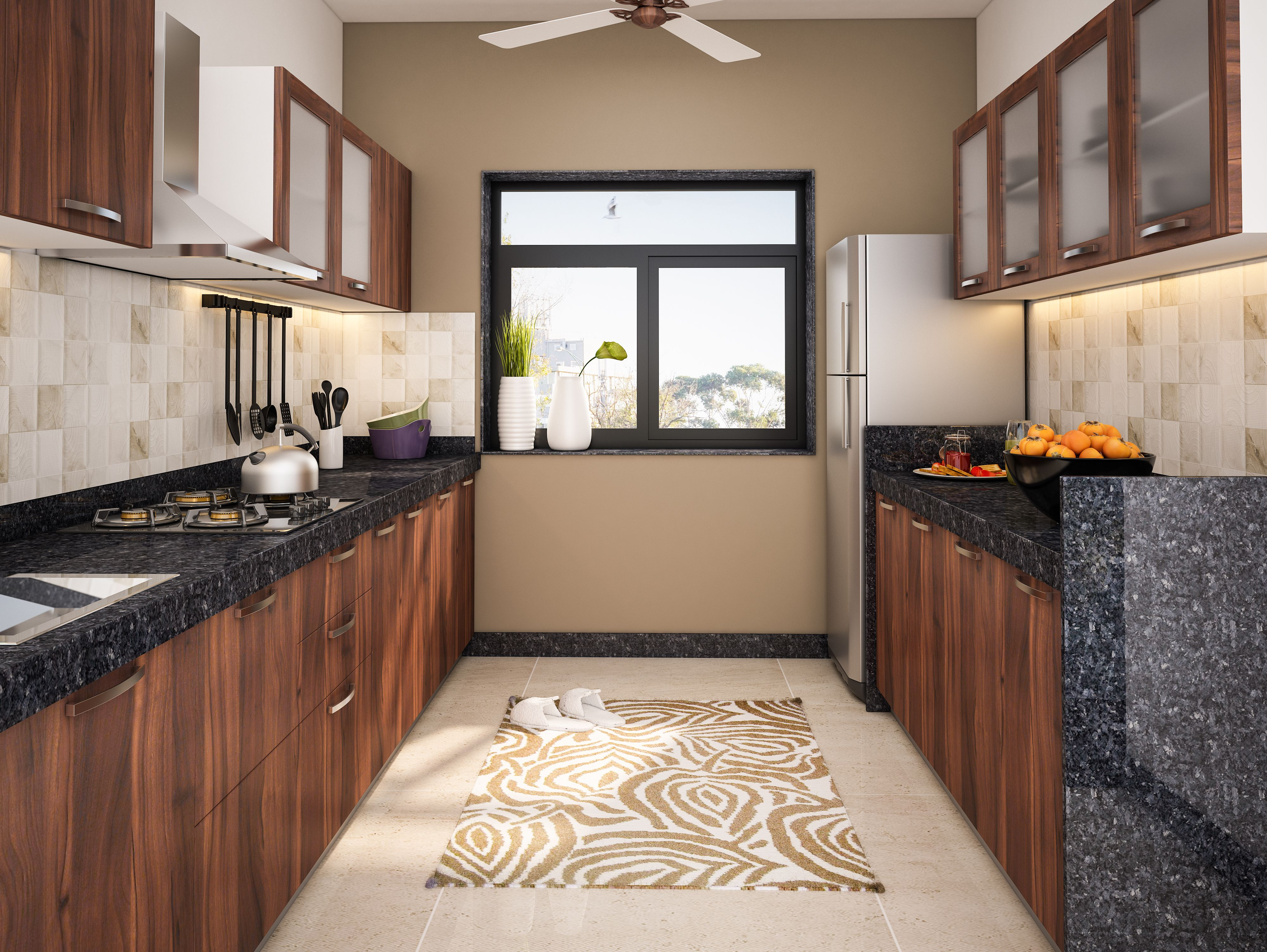Wooden themed modular kitchen with unique granite counter ...
