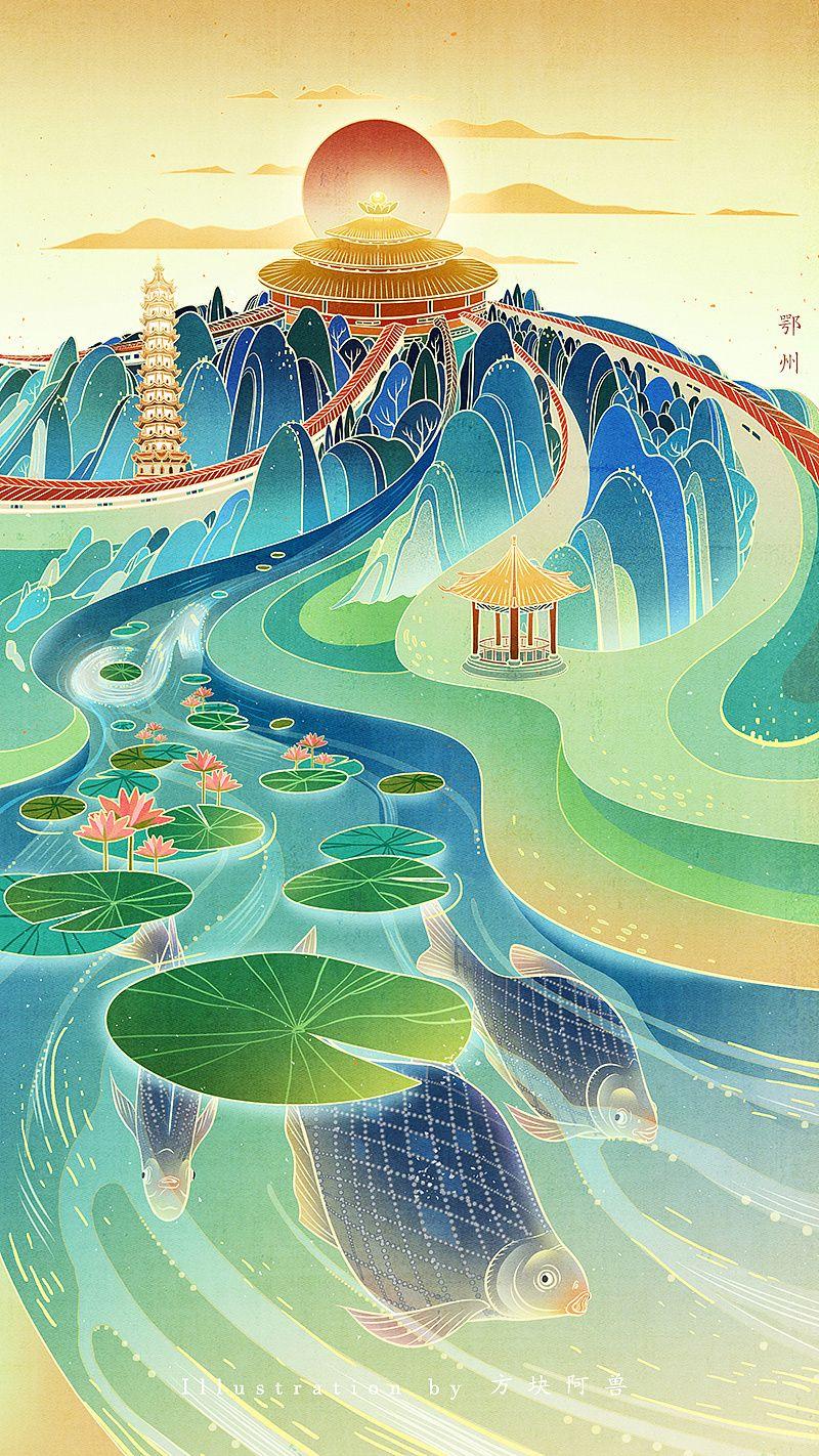抖音#助力湖北#系列插画|插画|商业插画|方块阿兽         - 原创作品