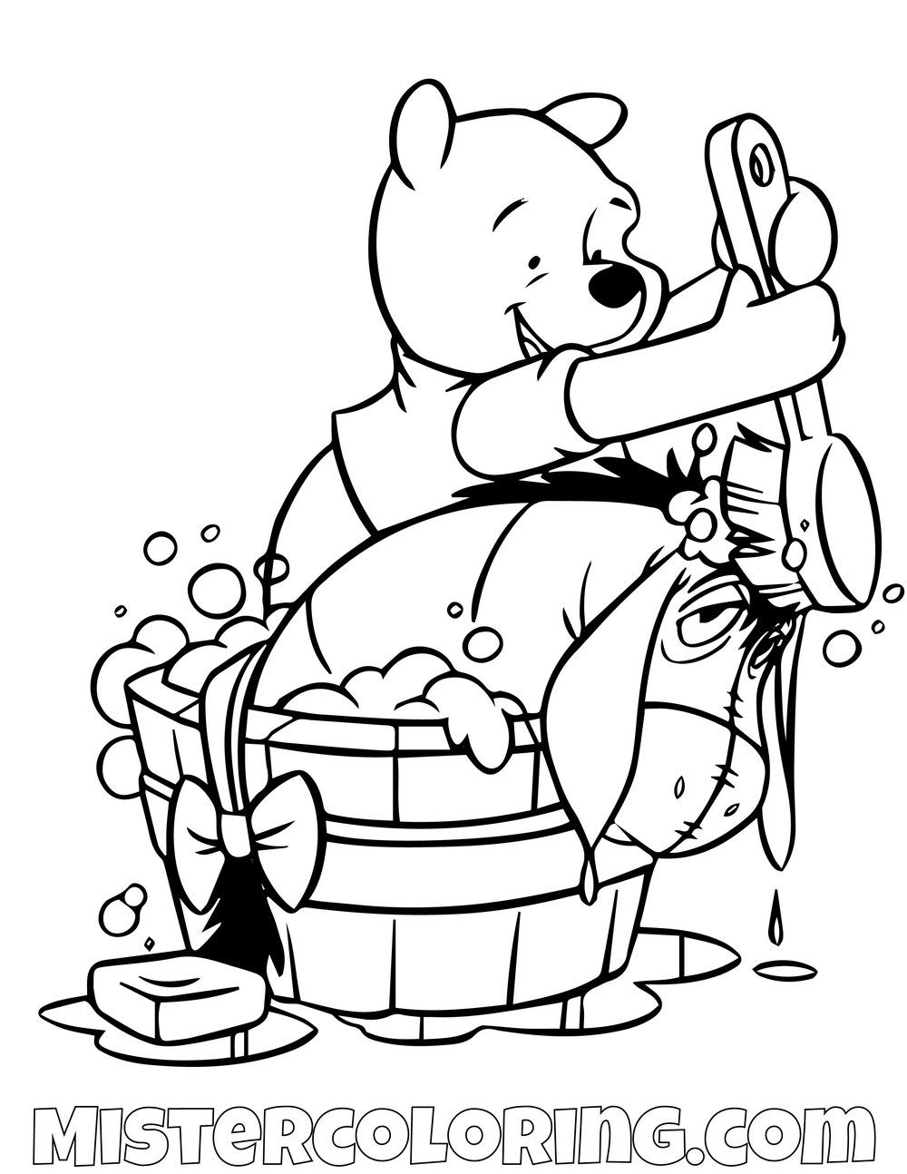 Winnie The Pooh Giving Donkey A Shower Coloring Page Disney Coloring Sheets Disney Coloring Pages Baby Coloring Pages