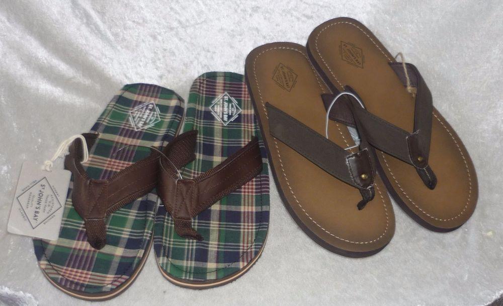 St Johns Bay Mens Flip Flop Sandals man made slip in size L NEW