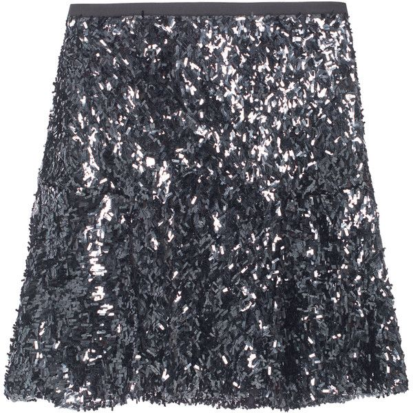 STEFFEN SCHRAUT Long Sparkle Anthra // Sequined skirt (£77) ❤ liked on Polyvore featuring skirts, bottoms, skater skirt, high waisted skater skirt, sequin maxi skirt, long flared skirt and long maxi skirts