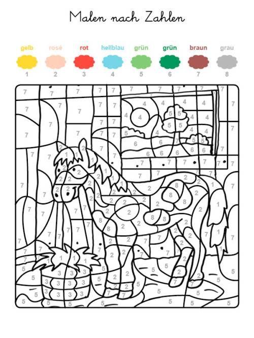 Malen nach Zahlen: Pferd im Stall ausmalen zum Ausmalen | malen nach ...