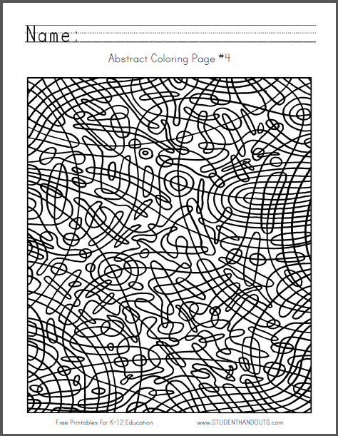 abstract coloring page 4 free to print pdf file curved checkerboard - Language Arts Coloring Pages