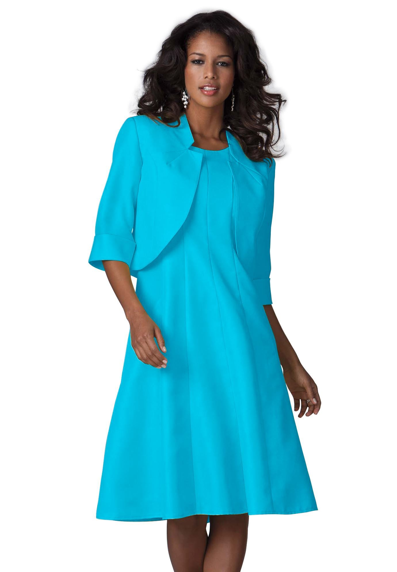 Full bottom fit and flare jacket dress plus size special occasions