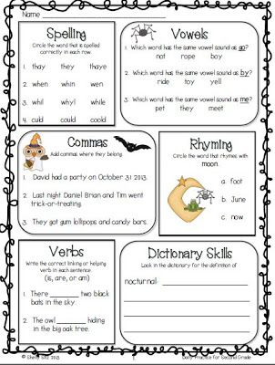 common core math and language arts daily practice for second grade october el aula. Black Bedroom Furniture Sets. Home Design Ideas