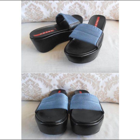 autentico Prada Sport Wedge 7 Size 37 1 2 (US 7 Wedge 1 2)   Pinterest ... 520041
