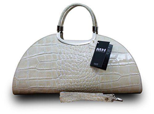 Made in Italy Luxus Damen Clutch Henkeltasche Echt Leder Kroko Prägung Beige - http://herrentaschenkaufen.de/my-musthave/made-in-italy-luxus-damen-clutch-henkeltasche-2