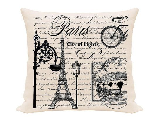 FREE USA SHIPPING French City Printed Pillow Cover Home Decor Awesome French Pillows Home Decor