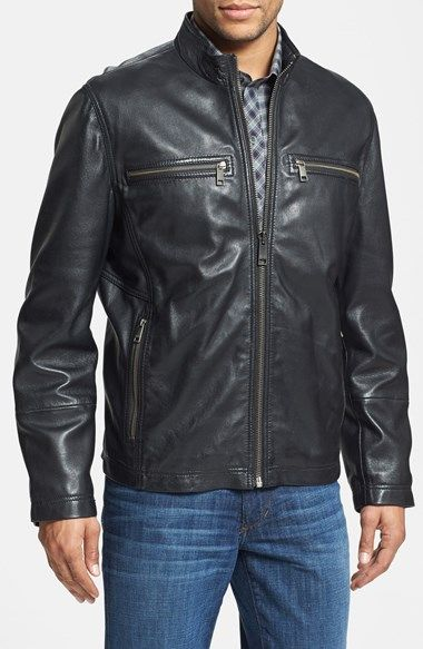 New York Leather Mens Biker Lambskin Leather Jacket