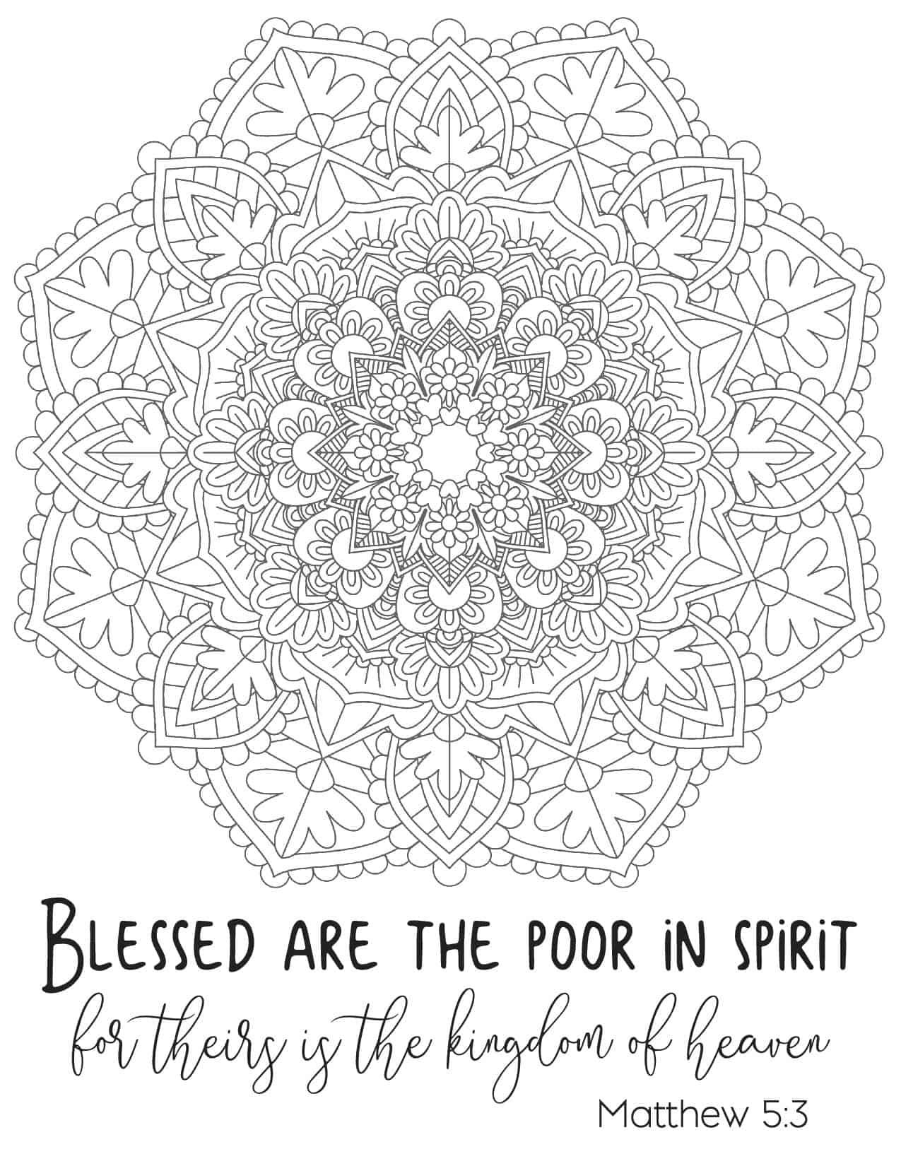 Free Printable Beatitude Coloring Page For Adults Bible Coloring