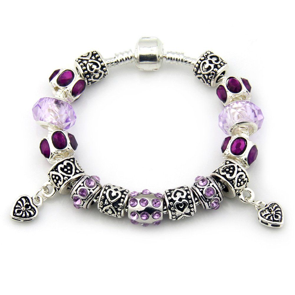 Purple chamilia beads pandora glass bead silver plated charm