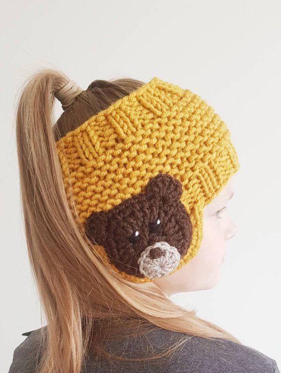 BEAR Headband, Earwarmer, Fall Fashion, Winter Clothing, Kids Outfit, Girls Accessories, Wome... #crochetteddybears