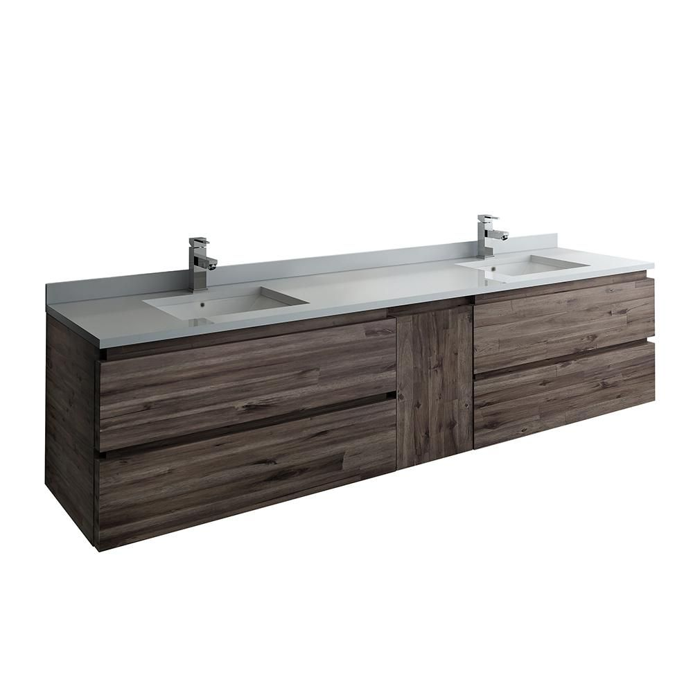 Fresca Formosa 84 In Modern Double Wall Hung Vanity In Warm Gray