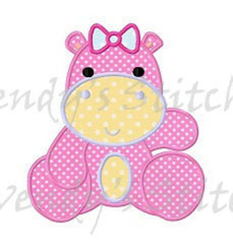 Girl hippo with big bow applique machine embroidery design