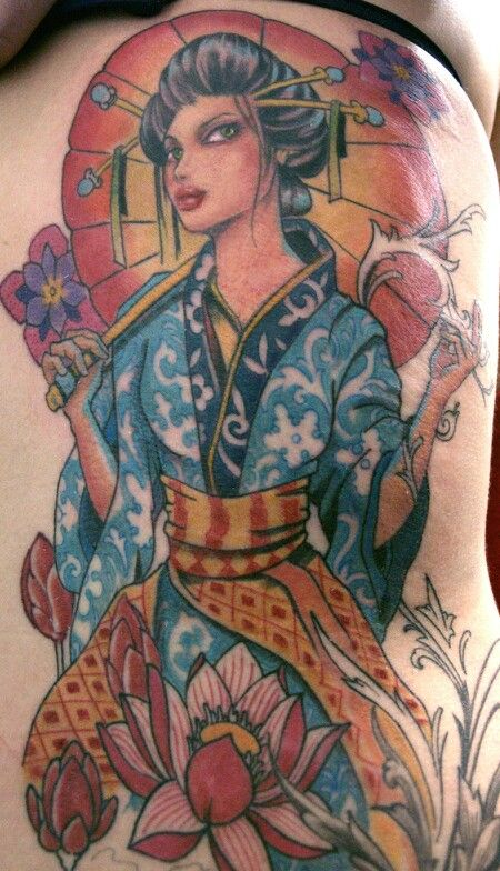 New School Geisha Permanent Art Geisha Tattoo Design Picture