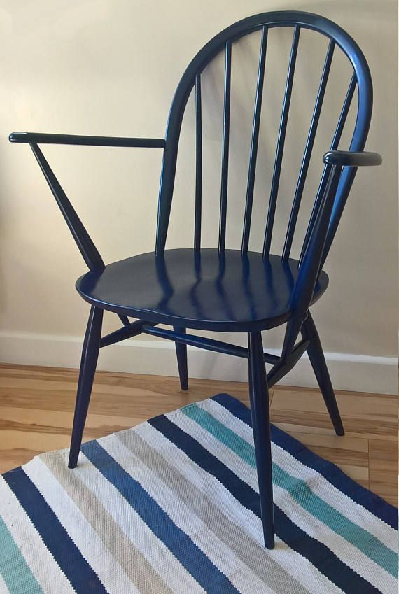 Ercol Windsor Chair In Navy Blue Gloss Finish Pair Available