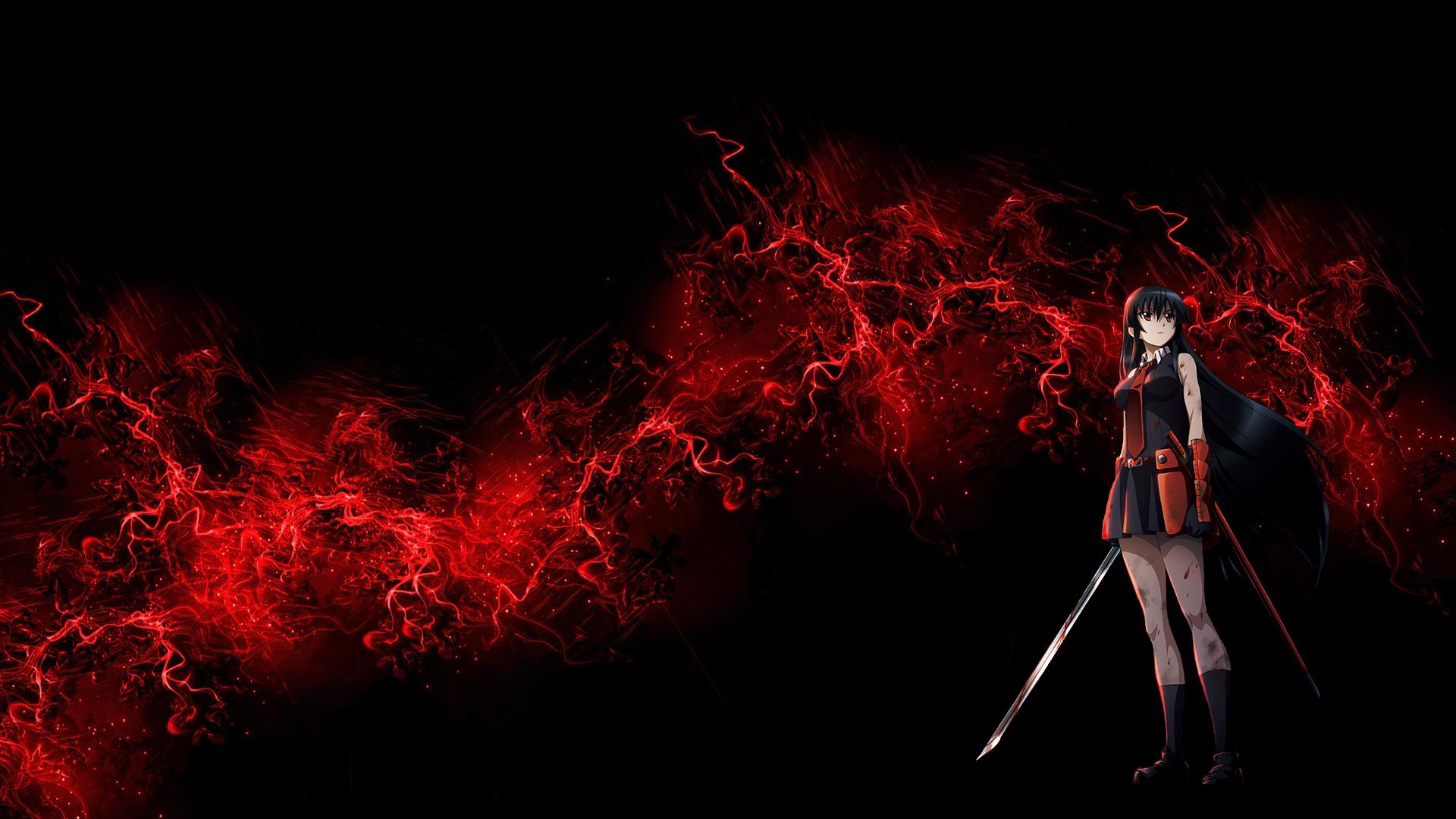 Anime Akame Ga Kill Akame Akame Ga Kill Wallpaper Dark Red Wallpaper Red Wallpaper Black Background Wallpaper