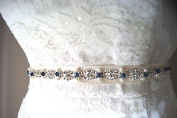 9729153a0c04 tnin crystal and pearl wedding belt   Crystal and Pearl Wedding Sash -  Sapphire Blue Accents
