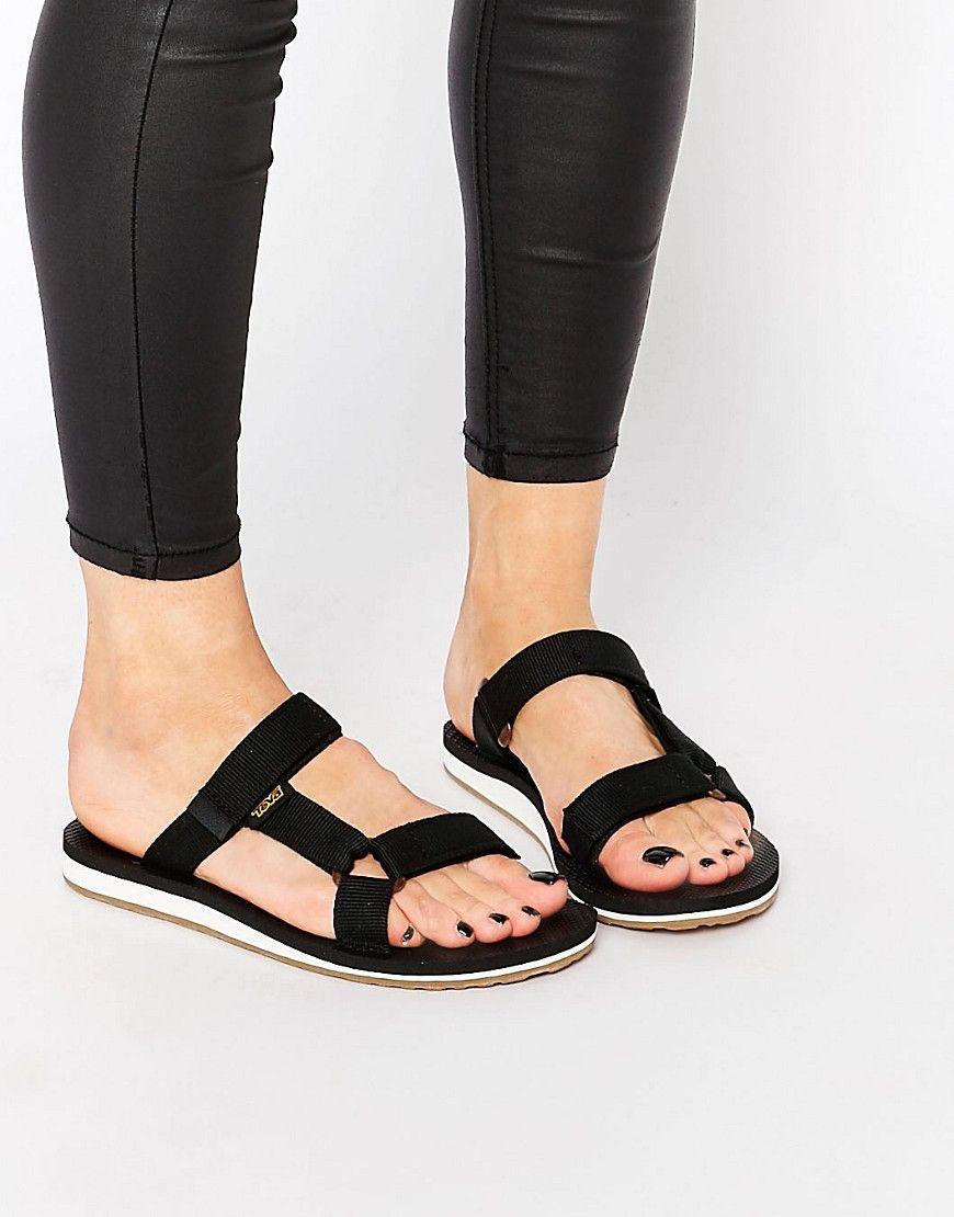 81aa443ff5e523 Image 1 of Teva Universal Black Slide Flat Sandals