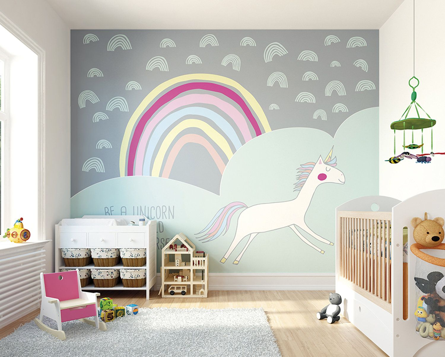 Unicorn Rainbow Wallpaper Mural I Believe In Unicorns Girls