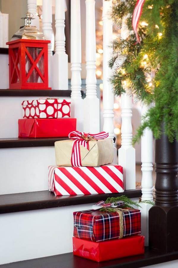 Decoracin navidea para escaleras Navidad Christmas decor and