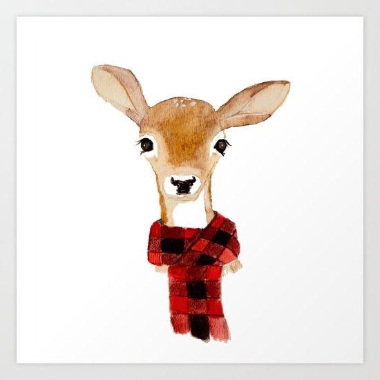 Buy Fawn with buffalo check scarf Art Print by craftberrybush ...
