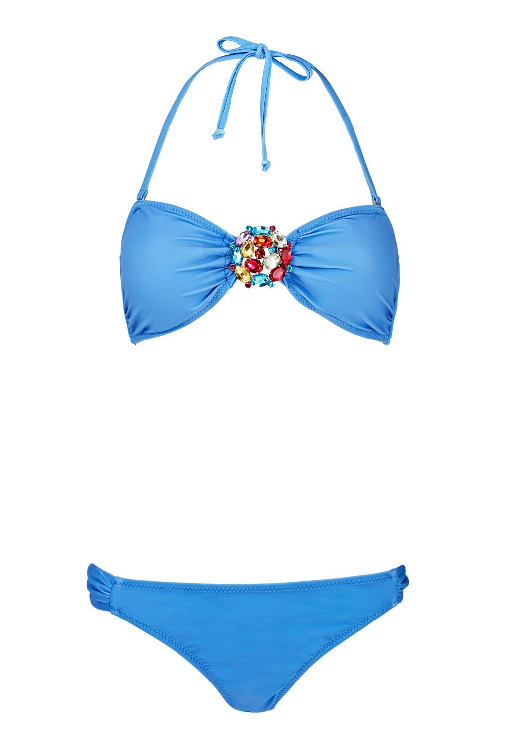 Lucy Jewel Front Bandeau Bikini in Delicious Blue