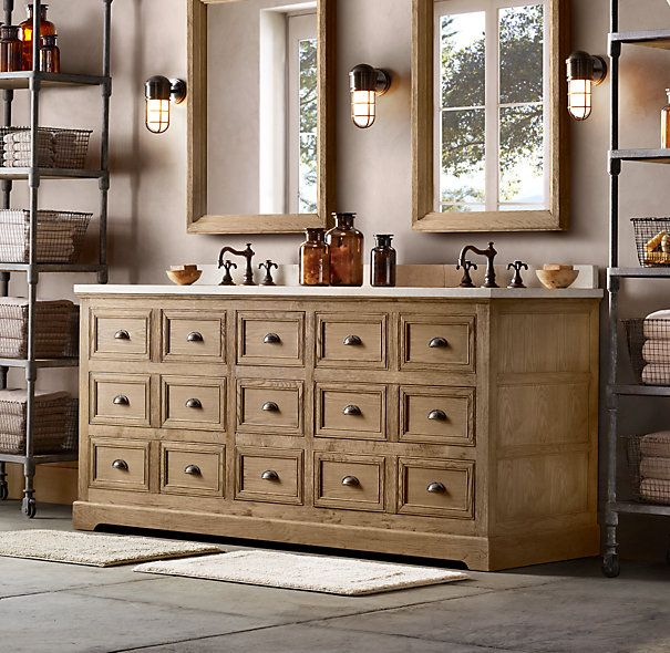 Superieur Apothecary Bin Pull Double Vanity Sink , Mirrors And Lighting