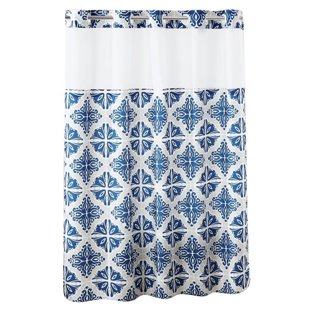 Hookless Missio Plain Weave Shower Curtain With Peva Liner Navy