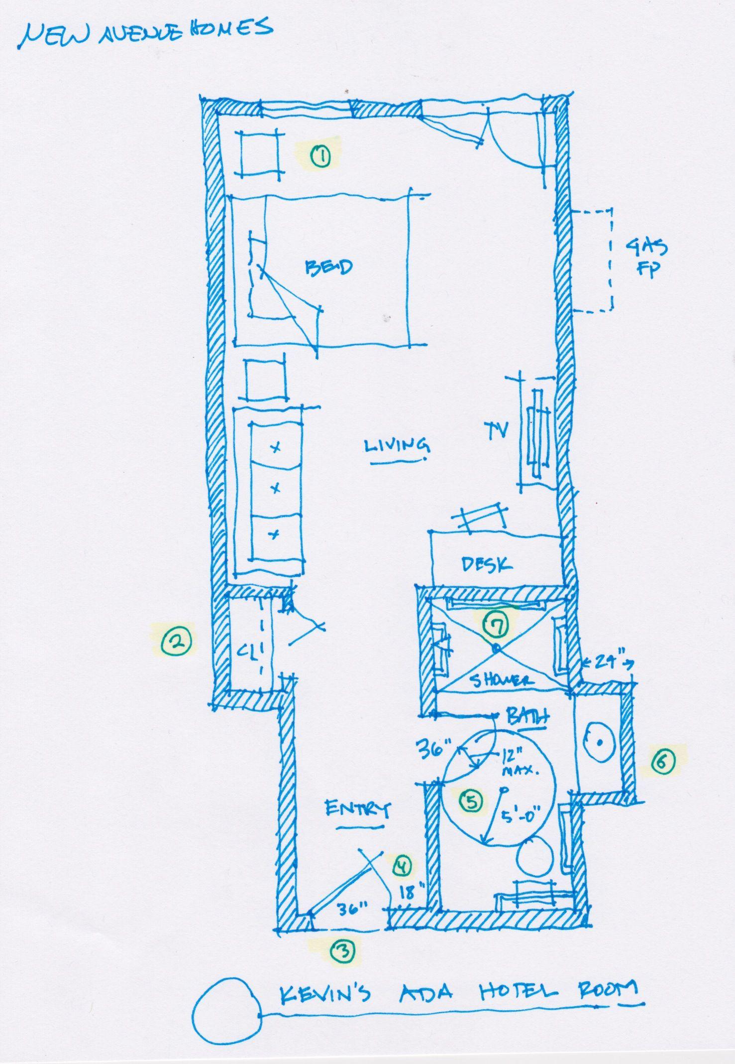 Ada bathroom floor plans - Hotel Room Ada Floorplans Google Search