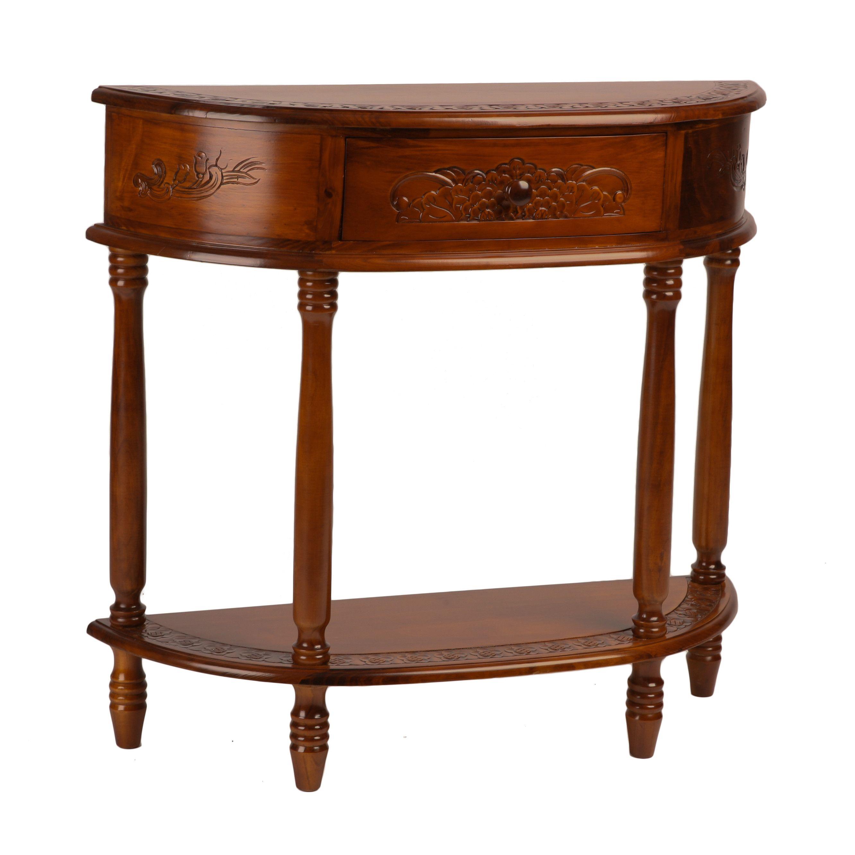 International Caravan Windsor Hand Carved Wood Console Table ...
