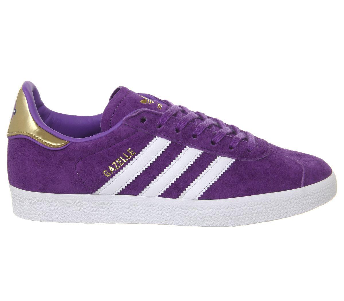 Mens Adidas Gazelle Trainers White Purple Gold Metallic Elizabeth Tfl Trainers S