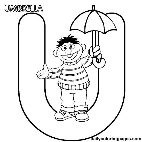 U Ernie Alphabet Letters To Print Png 550 550 Pixels Umbrella Coloring Page Sesame Street Coloring Pages Alphabet Coloring Pages