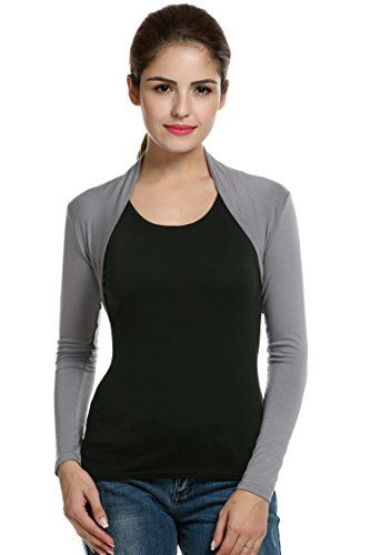 Women s Shrug Sweaters - Meaneor Womens Long Sleeve Bolero Shrug -- Click  image for more details. 67b879103