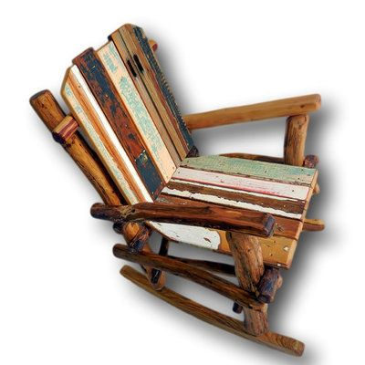 Charmant Rustic Reclaimed Wood Rocking Chair By Woodzy