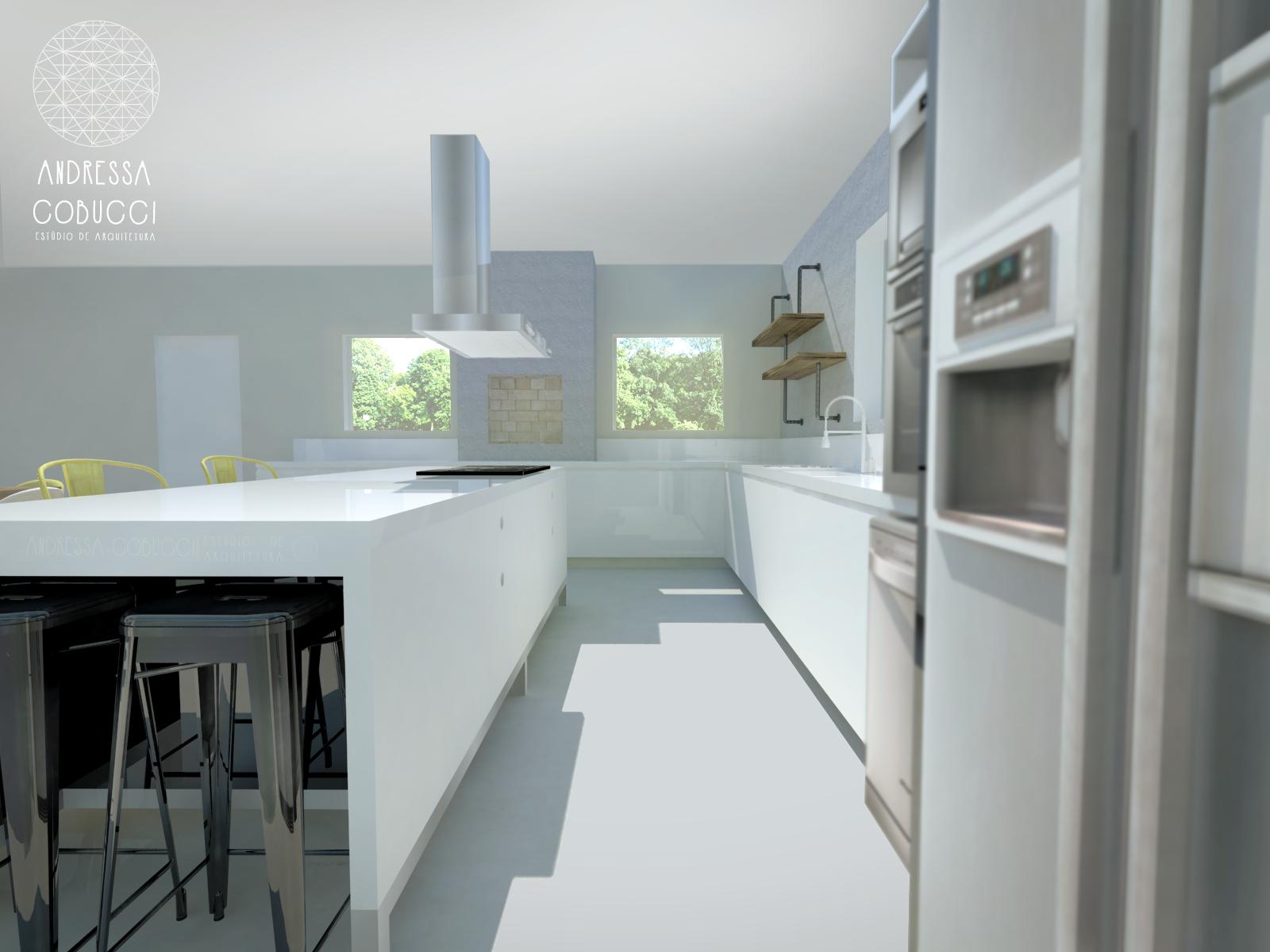 A Ilha Da Cozinha Abriga O Cooktop E Possui Ainda Um Nicho Para