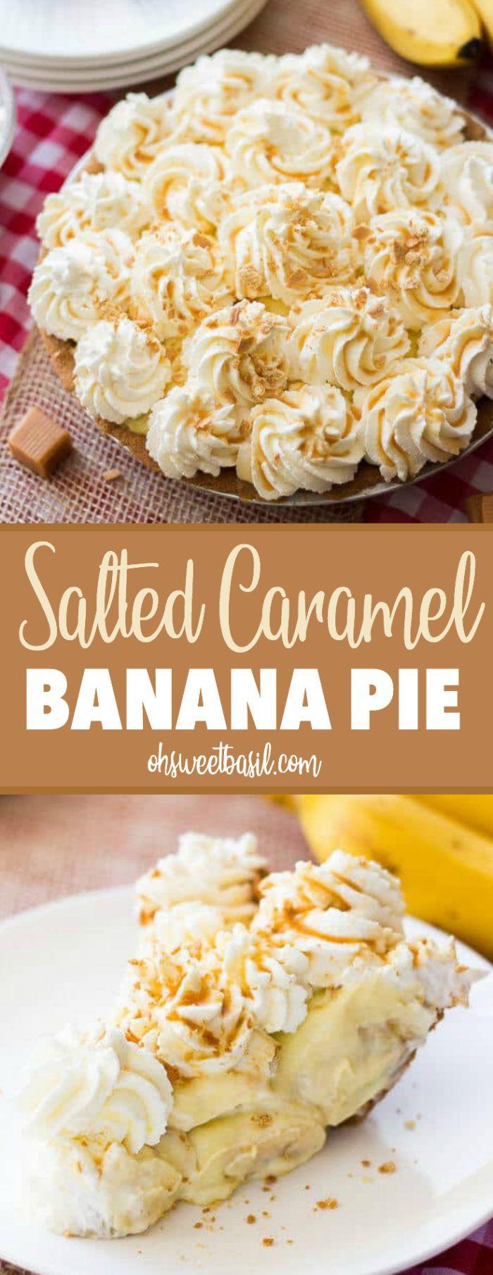 Salted Caramel Banana Pie - Oh Sweet Basil #bananapie