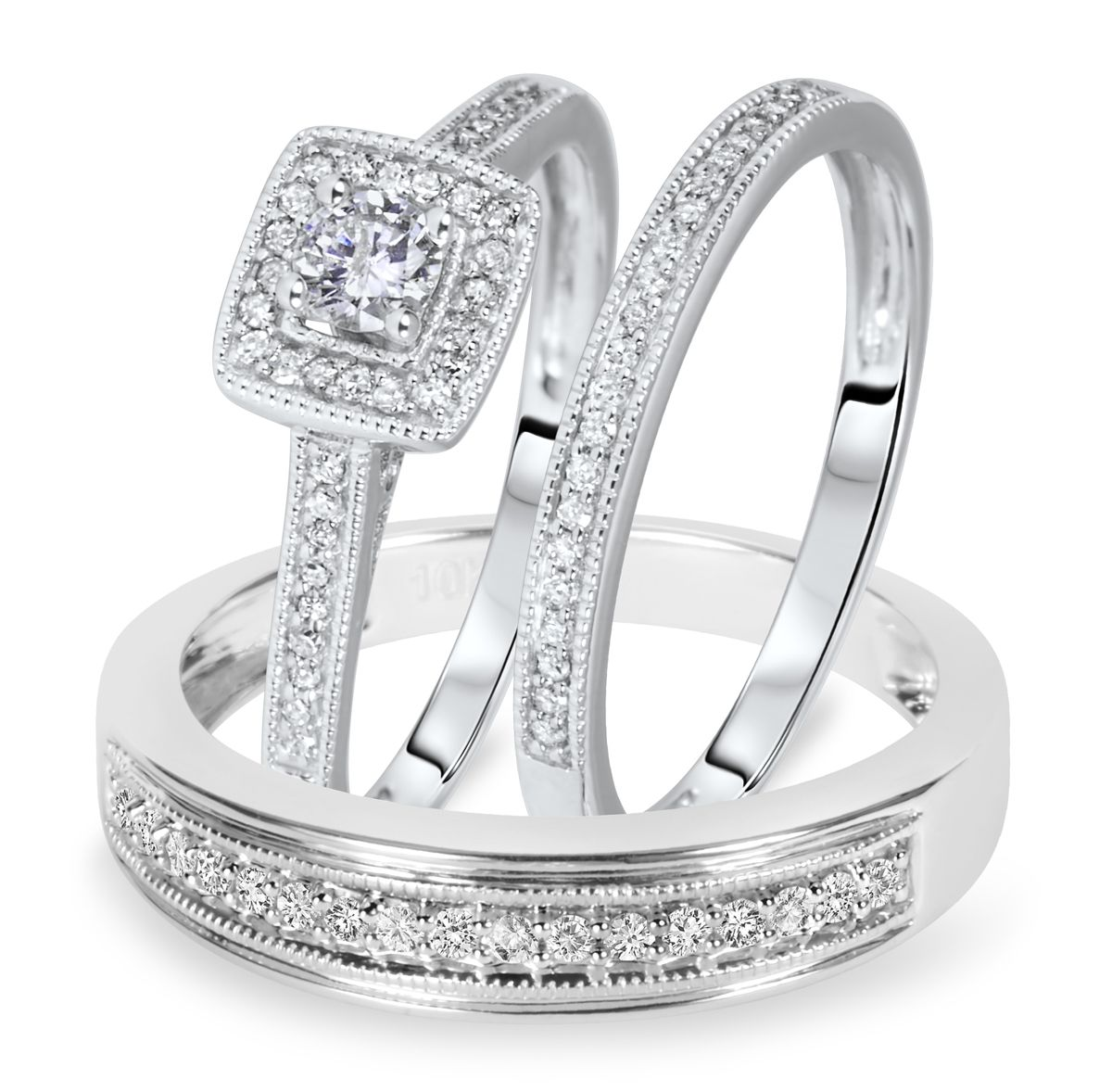 1 2 Carat T W Round Cut Diamond Matching Trio Wedding Ring Set 10k White Gold