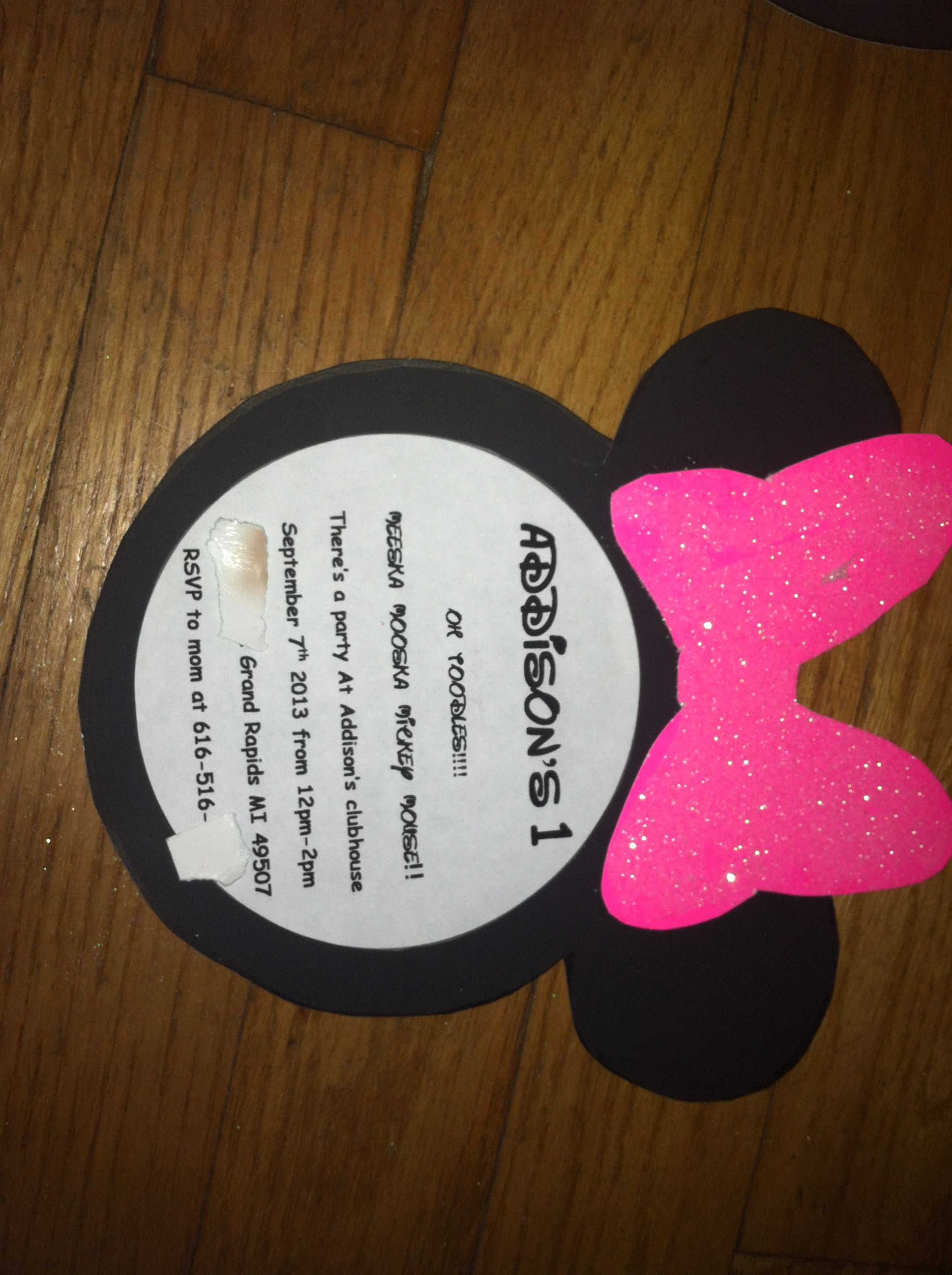 Minnie Mouse Invites For My Addisons First Bday Super Cute And Easy